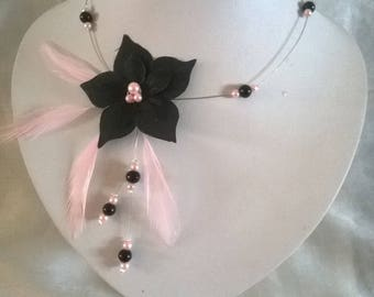 wedding bridal necklace holiday black feathers Silk Flower Pink / black necklace-wedding jewerly