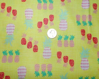 Beach Babe Pineapple - Fabric By The Half Yard 18 inches x 44 inches