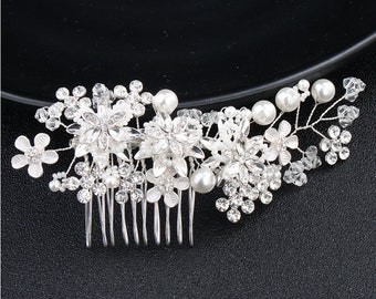 Floral Bridal Comb,Floral Wedding Comb,Bridal Hair Comb,Wedding Hair Accessory,flower pearl Hair Comb,Pearl Comb,Bridal Headpiece HS-J2043