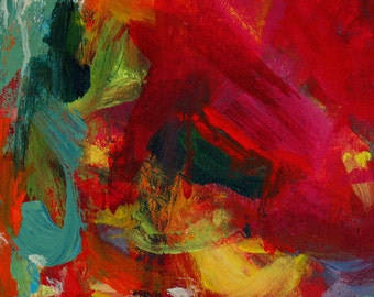 Cytherea GICLEE ART PRINT 8 x 11 red pink aqua floral abstract