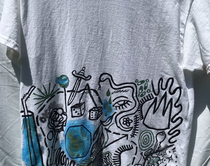 Featured listing image: Painted White T-Shirt by Sam Pletcher /  Hand Painted Artist Clothing / One of a Kind Art