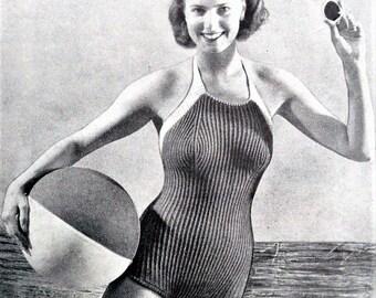 Vintage Knitting Sewing Crochet Magazine 1950s Needlework Illustrated 1953 swimsuit knitting pattern 50s original pattern Coronation Issue