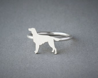 SETTER RING / Setter Ring / Silver Dog Ring / Dog Breed Ring / Silver, Gold Plated or Rose Plated.