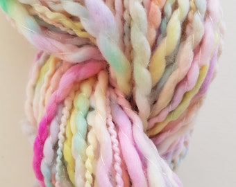 WATERCOLOR skein of yarn spun to spinning wheel.