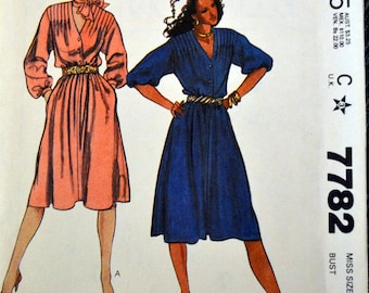 Vintage 80's Sewing Pattern McCall's 7782 Misses' Dress  and Scarf Size 12 Bust 34 Complete Uncut FF
