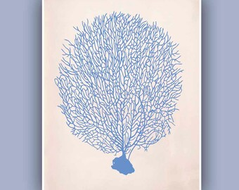 Sea Fan 1 in blue,  Vintage  image print, Blue Print,  Marine Wall Decor, Nautical art,  Collage  Print, Coastal Living, beach cottage