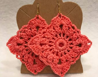 Coral pink crochet lace square earrings