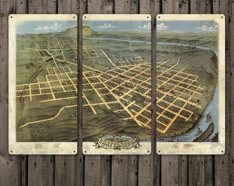 """Vintage Map of Chattanooga on METAL Triptych 36x24"""" FREE SHIPPING"""