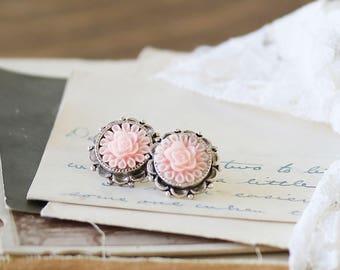 Bridesmaids Flower Earrings - Pink Earrings - Flower Cabochon Earrings - Friend Earrings Gift - Flower Earrings - Earrings for a Girlfriend
