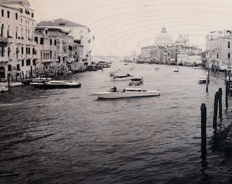 Italian Holiday, 'Day in Venice #3' Limited Edition, Image Transfer on Wood Panel by Patrick Lajoie, photo art block, italy photography