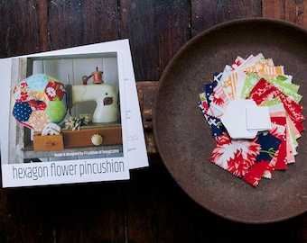 Pincushion Kit - Hexagon Flower - hexagons, easy, hand stitched, practical, english paperpieced, Bonnie & Camille fabric The Good Life range