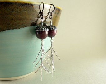 Mauve Jasper Stone Acorns and Sterling Silver Pine Needles Earrings with Free USA Shipping