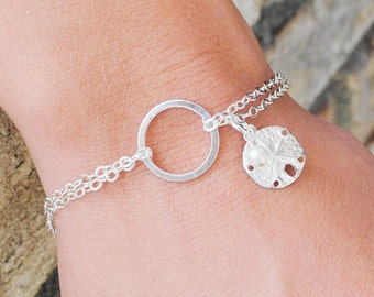 Infinity Bracelet Sterling Silver Sand Dollar Bracelet, Beach Jewelry, Beach Wedding Jewelry - Friendship Gift - Mindfulness Gift for Her