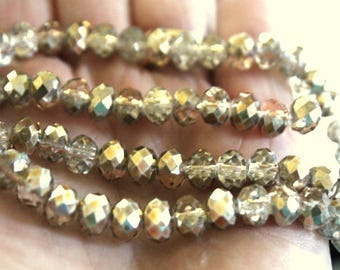 Smoke and Gold Faceted Rondelle Beads with AB Finish