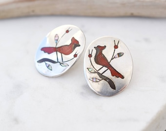 Sterling Silver Signed Native American Bird Inlay Earrings, Zuni Bird Earrings, Sterling Silver Zuni Earrings, Cardinal Inlay Earrings