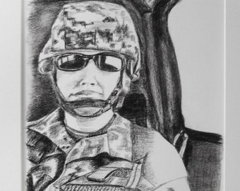 """Charcoal drawing: """"GEARED UP"""" military, wall art, original charcoal drawing"""