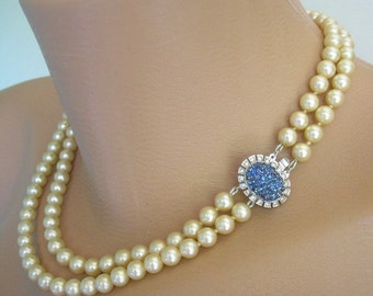 Sapphire Bridal Choker, Pearl Necklace, Statement Necklace, Sapphire Rhinestones, Wedding Jewelry, Mother of the Bride, Cream Pearls