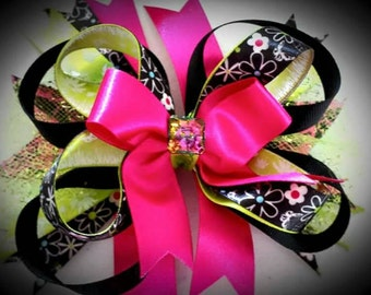 Layered Pink/Black/Green Flowered Hairbow