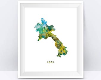 Laos Map Print, Laos Poster, Watercolor Painting, Vientiane Art, Wall Decor, Map decor, Travel Poster, Home Decor, Gift, Digital Download