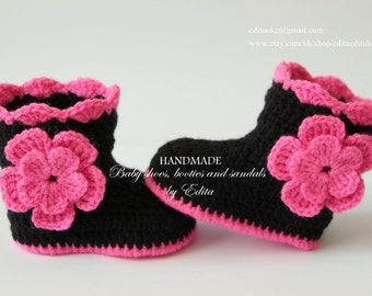 Crochet baby shoes, baby girl shoes, baby booties, slippers, black booties, pink, flower, 6-9 months, gift for baby, gift idea, announcement
