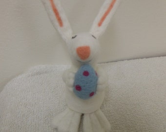 Needle Felted Easter Bunny Holding an Easter Egg White Wool Rabbit