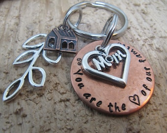 Gift for Mom, Mothers Day , hand stamped key chain for Mom, Mom you are the heart of our family, Key chain for Mom, Hand stamped key chain