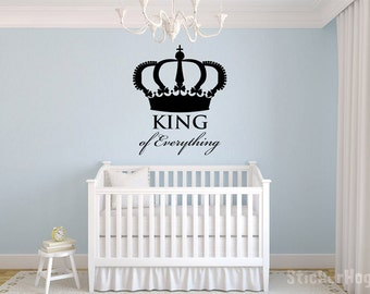 "King of Everything Crown Wall Decal Vinyl Sticker 22x19"" Home Decor"