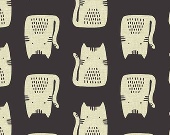 Cats in Black (Linen Blend Fabric) by Sarah Golden from the Maker Maker collection for Andover #ALN-8454-K by 1/2 yard