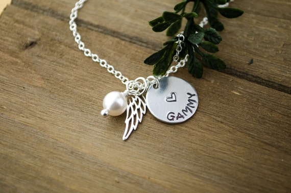 Angel Wing Name Necklace   Sterling Silver Memorial Necklace   Rest in Peace Memory Necklace   Sterling Silver Charms