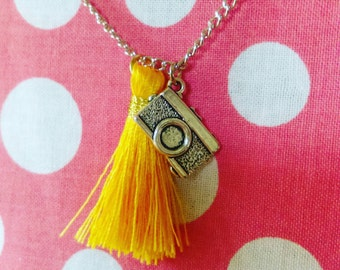 Camera & Yellow Tassel Necklace