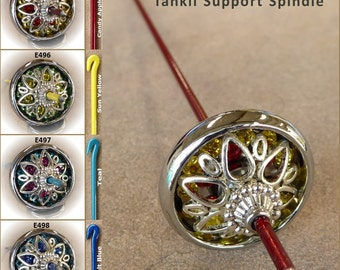 Tahkli Support Spindle - Chrome-Alloy and Crystals 495-498 - Red, Yellow, Teal, or Blue - FREE SHIPPING