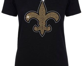 Womens New Orleans Saints Rhinestone Logo T-Shirt
