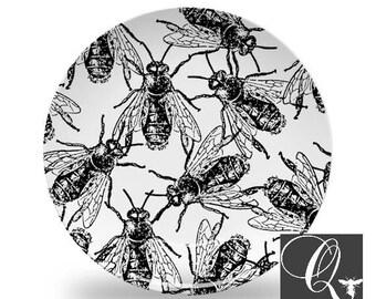 Bee Platemelamine platesmelamine dinnerwarebeekeeper giftblack and white  sc 1 st  Etsy & Honey bee plate | Etsy