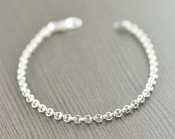 Silver bracelet Rolo chain bracelet 7 inch 8 inch Unisex silver chain Made in Italy Italian chain