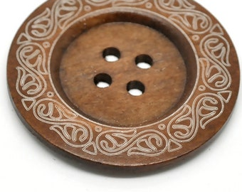 Extra Large Coffee Colored Patterned Wood Button - 2 3/8""