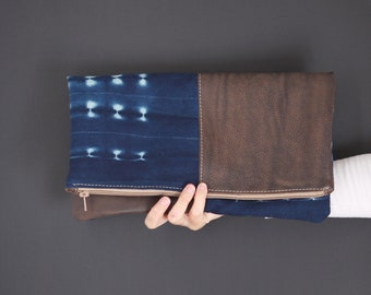 Leather Clutch - Boho Chic Clutch - Clutch Bag - Clutch Purse - Boho Bag - Foldover Clutch - Indigo Mud Cloth Clutch - Boho Clutch