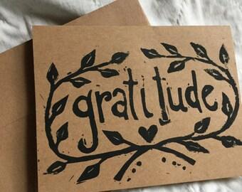 Gratitude Handstamped Linocut Card