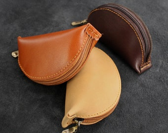 Genuine Leather Coin Purse Leather Coin Pouch Mini Wallet with Zipper