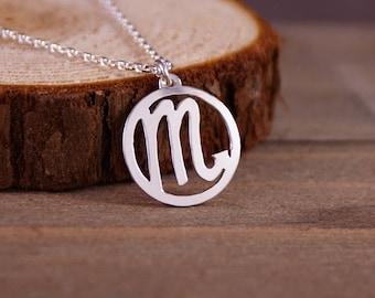 Scorpio - Hand Cut Sterling Silver Glyph Pendant, Necklace