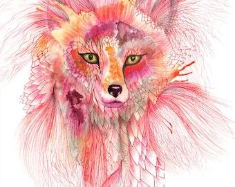 "Fox, Foxy Fur watercolor wild animal art by Ola Liola, size 8""x10""/A4  (No. 26)"