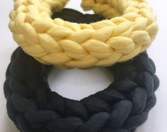 Yellow and Grey Bangle, Crochet Bracelet, Chunky Bracelet, Fabric Bangle, Tshirt Yarn Bracelet, Handmade Bangle