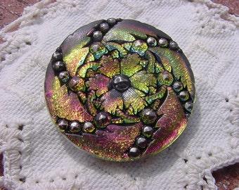 Czech Glass Button Fuchsia Lime Rainbow Studded Pinwheel