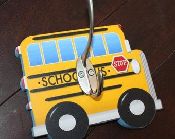 School Bus Vehicle Boys Clothes Peg Rack Clothing Rack, Hat Holder for Kids Bedroom Baby Nursery