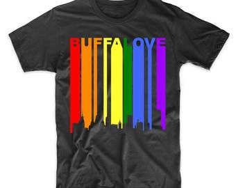 Buffalove Buffalo New York Downtown Rainbow LGBT Gay Pride T-Shirt