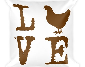 Chicken Love Square Pillow
