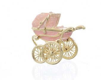 Pink Baby Carriage Trinket Box by Keren Kopal Faberge style Decorated with Swarovski Crystals