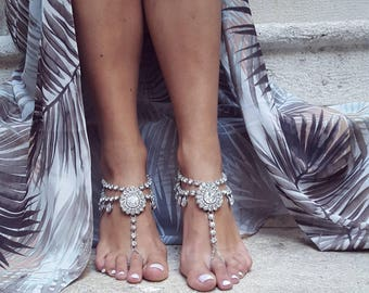 Beach Wedding Barefoot Sandals, Boho Slave Anklet, Ankle Bracelet, Crystal Bridesmaid Accessories, Foot Jewelry, Rhinestone Anklet /SAYEN/