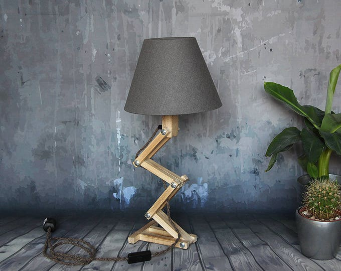 "Wooden room lamp, wood desk lamp, ""foldable Freddy"", adjustable lamp, industrial night lamp"