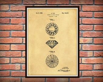 Patent 1944 Diamond Engagement Ring - Ornamental Cut Pattern Art Print - Poster - Gem Stone - Wall Art