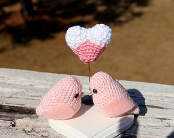 Valentine's gift set two love birds and a heart, Love birds couple, Anniversary Gift, Love Birds set, Wedding Gift, Engagement Gift